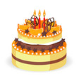 Birthday cake with fresh red berries strawberries vector image