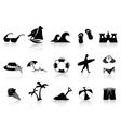 black beach icon set vector image