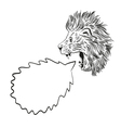 Drawing lion speech bubble vector image