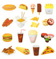 fast food hamburger or cheeseburger with vector image