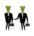 Money people make deal Businessmen shaking hands vector image