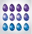 rainbow vivid color easter egg set bright simple vector image