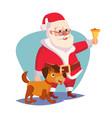 santa claus and happy dog ringing gold vector image