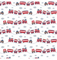 seamless pattern with cute toy trains vector image