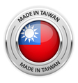 Silver medal Made in Taiwan with flag vector image