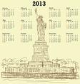 Statue of liberty vintage 2013 calendar vector image