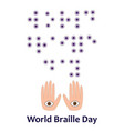 world braille day 4 january font eye and hand vector image