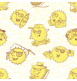 seamless pattern with sun characters vector image
