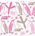 Doodle penguins winter pattern vector image vector image