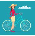 Girl on Bike creative color flat design in flat vector image