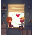 Two lovers sitting on the windowsill in an vector image