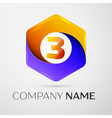 Number three logo symbol in the colorful hexagonal vector image