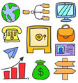 doodle of business object design style vector image