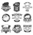 farm fresh pork meat emblems design elements for vector image