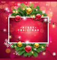Merry christmas on red vector image