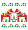 Swedish Dala or Daleclarian horse folk art pattern vector image