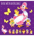 Duck with ducklings big funny family vector image