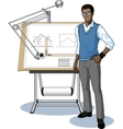Young African architect student presenting his vector image vector image
