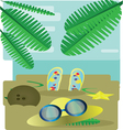 Abstract design with palm leaves sand slippers hat vector image