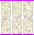 brown tags with flowers vector image