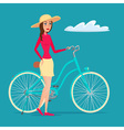 Girl on Bike creative color flat design in flat vector image
