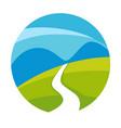road in field emblem vector image