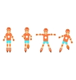 Roller character poses icons set isolated on white vector image