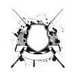 Skeleton of fishes and crossed fishing tackles vector image