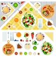Table served with vegeterian dishes vector image
