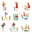 tired parents and their children set parenting vector image