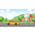 girl running behind school bus vector image vector image
