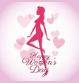 happy womens day card-silhouette girl pink hearts vector image vector image