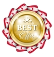 Blue best offer badge vector image