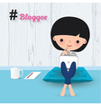 Blogger woman laptop cartoon vector image
