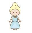 cute kawaii fairy tale princess in blue dress vector image