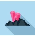 Explosion on the mountain mine icon flat style vector image