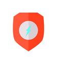 Flat design Shield with Lightning Bolt vector image