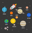 flying rocket and solar system planet vector image