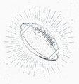 football rugby ball vintage label hand drawn vector image