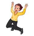 happy boy jumping vector image