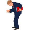 Happy cartoon man standing in blue suit with red vector image