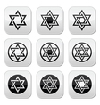 Jewish Star of David icons set isolated on white vector image