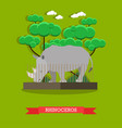 rhinoceros in flat style vector image
