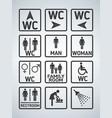 wc toilet door plate icons set men and women wc vector image