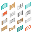 Fences Types Elements Icons Isometric Collection vector image