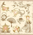asian hand drawn elements vector image