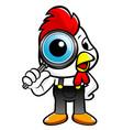 cartoon chicken character look through a vector image
