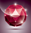 Abstract 3D red shiny sphere with sparkles ruby vector image