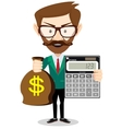 person with calculator and money vector image