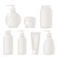 White no name set of plastic cosmetic containers vector image